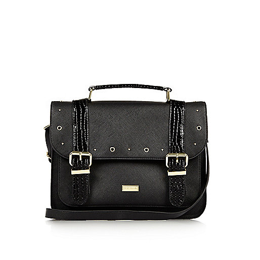 Girls black oversized satchel bag