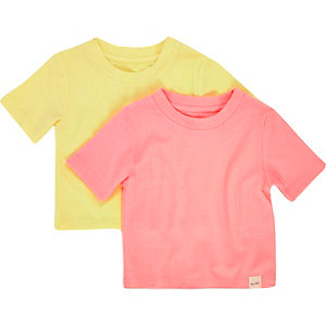 Mini girls yellow ribbed t-shirt set