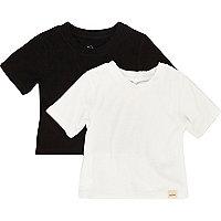 Mini girls black ribbed t-shirt set