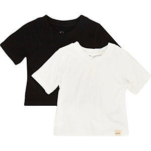 Mini girls black ribbed t-shirt set
