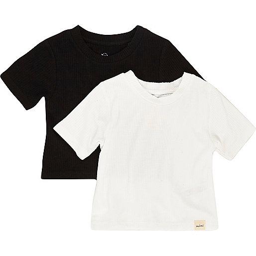 Ensemble avec t-shirt noir côtelé mini fille