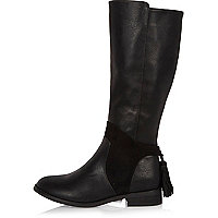 Girls black knee high rider boots