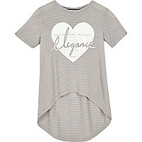 Mini girls grey stripe t-shirt