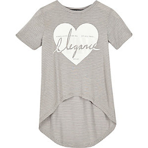 Mini girls grey stripe t-shirt