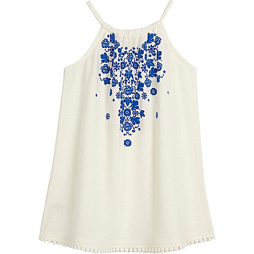 Mini girls blue print trapeze dress