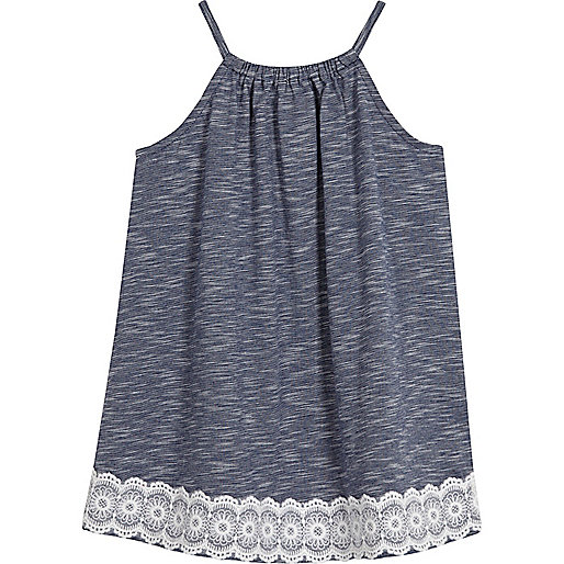 Mini girls blue trapeze dress