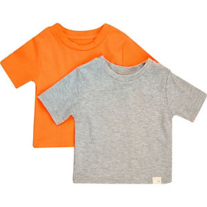 Mini girls grey ribbed t-shirt set