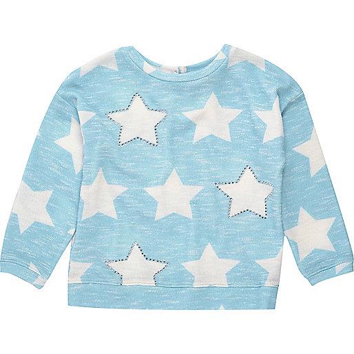 Mini girls blue star print sweater