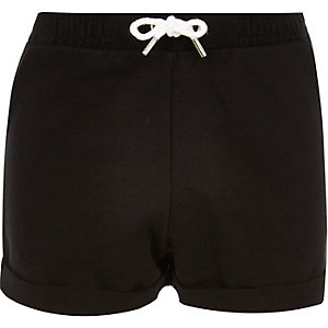 Girls black jersey shorts