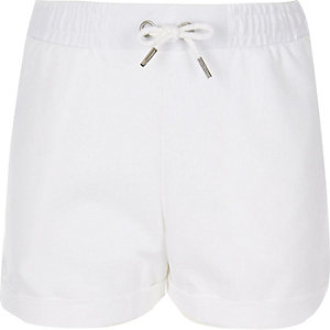 Girls white jersey shorts