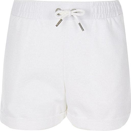 Girls white jersey shorts