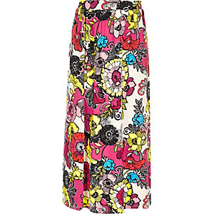 Girls pink print maxi skirt