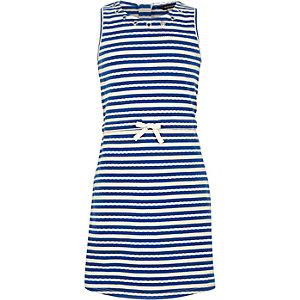 Girls blue stripe eyelet dress