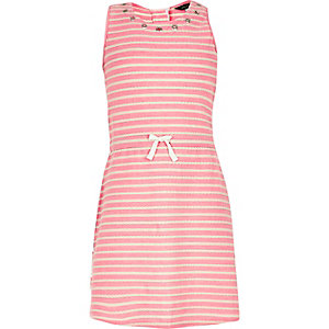 Girls pink stripe eyelet dress