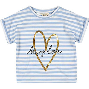 Mini girls blue stripe t-shirt