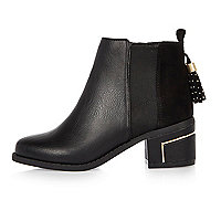 Girls black tassel ankle boots