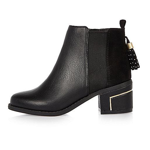 Girls black tassel ankle boots