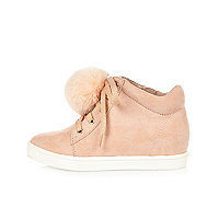 Girls pink wedge pom pom hi tops