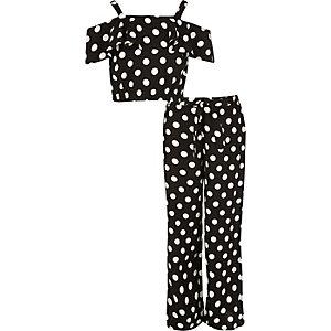 Girls black polka dot bardot outfit