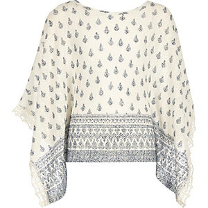 Girls blue print poncho