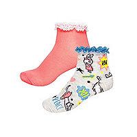 Girls grey badge print socks multipack