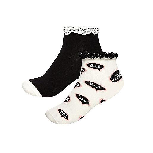 Girls white and black socks multipack