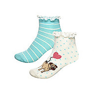 Girls cream pug print sock multipack