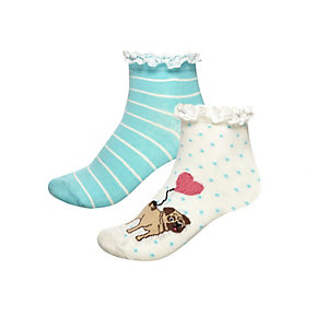 Girls cream pug print sock pack