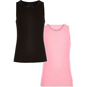Girls black and pink tank set