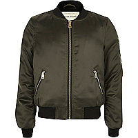 Girls khaki satin bomber jacket