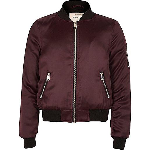 Girls burgundy satin bomber jacket