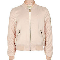 Girls light pink satin bomber jacket