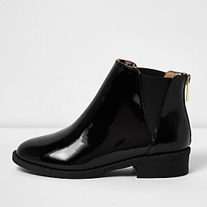 Bottines Chelsea vernies noires pour fille
