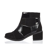 Girls black patchwork heeled boots