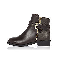 Girls brown glam biker boots