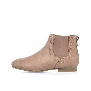 Girls light brown studded Chelsea boots