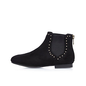 Girls black studded Chelsea boots