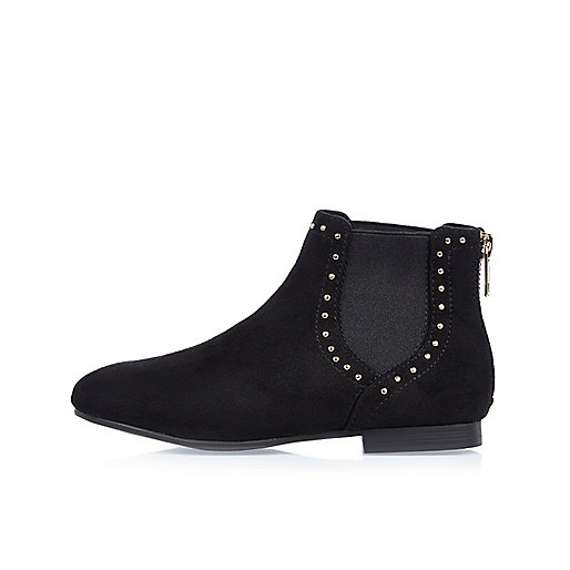Girls black studded Chelsea boots