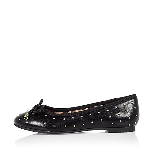 Girls black studded ballerina shoes