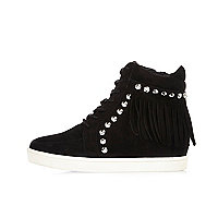 Girls black stud fringe hi tops
