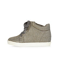 Girls grey glitter wedge hi tops