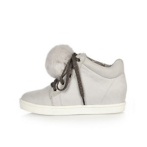 Girls grey wedge pom pom hi tops
