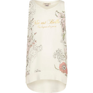 Girls cream floral print vest