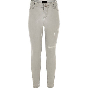 Girls grey wash jeggings