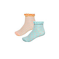 Girls orange stripe socks multipack