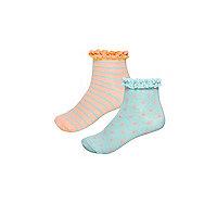 Girls orange stripe socks multipack
