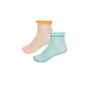 Girls orange stripe socks pack
