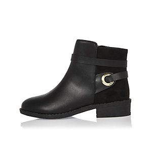 Girls black wrap around boots