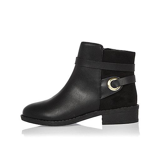 Girls black wrap around boots