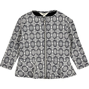 Mini girls navy geometric print jacket